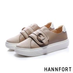 HANNFORT CAMPUS PLATFORM 簡約黏帶厚底休閒鞋-女-卡其