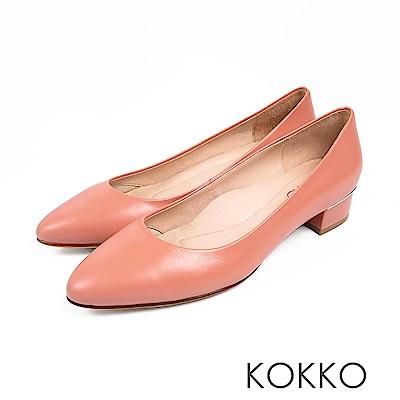 KOKKO -女力時代素面真皮舒壓中跟鞋-珊瑚橘