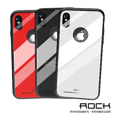 【ROCK】iPhone X 晶瑩系列鋼化玻璃手機保護殼