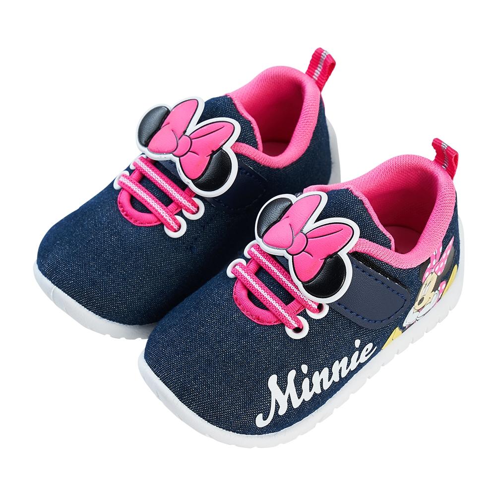 迪士尼童鞋 米妮 牛仔布寶寶休閒鞋-藍