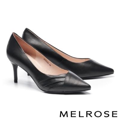 高跟鞋 MELROSE 經典俐落純色皺褶羊皮尖頭高跟鞋-黑