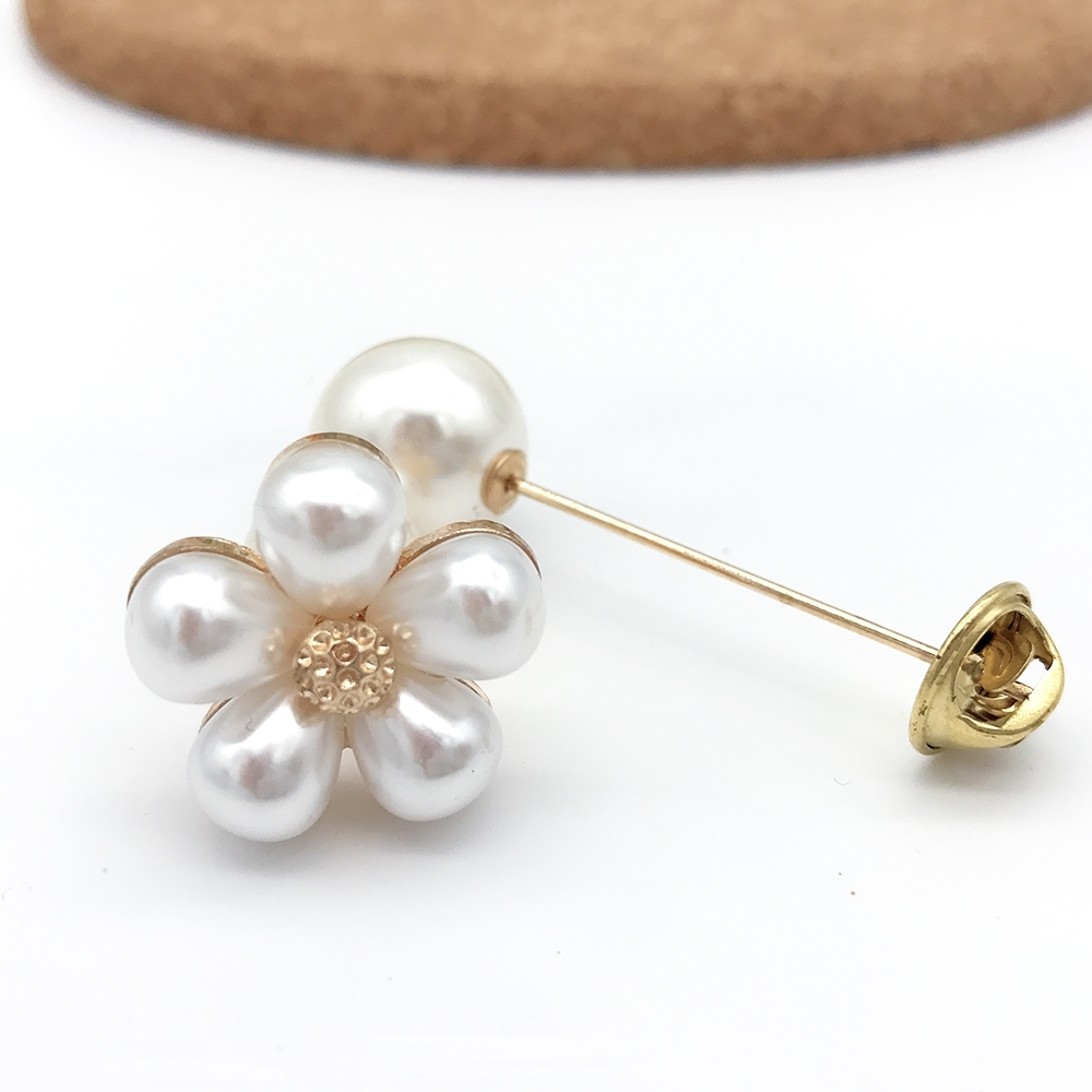 Hera 赫拉 百搭小雛菊珍珠結裝飾扣/胸針(2入一組)