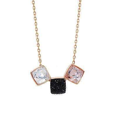 SWAROVSKI 施華洛世奇 GLANCE璀璨多色方型水晶玫瑰金項鍊