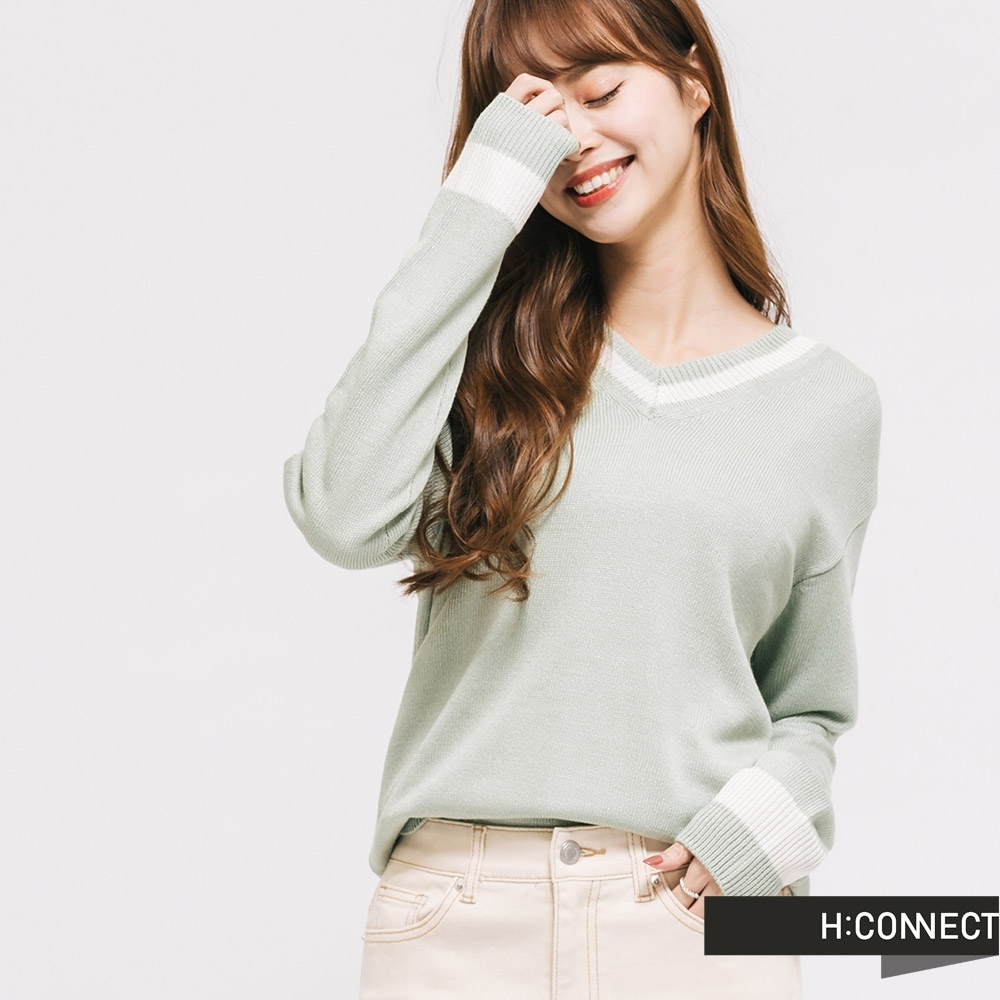 H:CONNECT 韓國品牌 女裝 -細緻滾邊薄針織上衣-綠