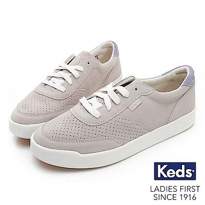 Keds MATCH POINT 經典復刻皮革休閒鞋-淺灰