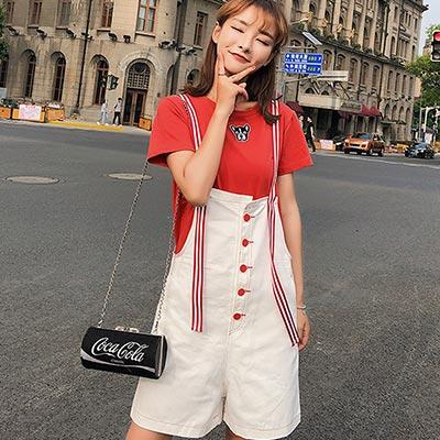 小狗刺繡T恤+撞色吊帶褲兩件套 (共二色)-Kugi Girl