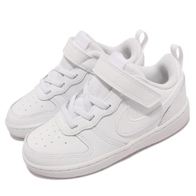 Nike 休閒鞋 Court Borough Low 2 童鞋 基本款 魔鬼氈 舒適 休閒穿搭 小童 全白 BQ5453-100