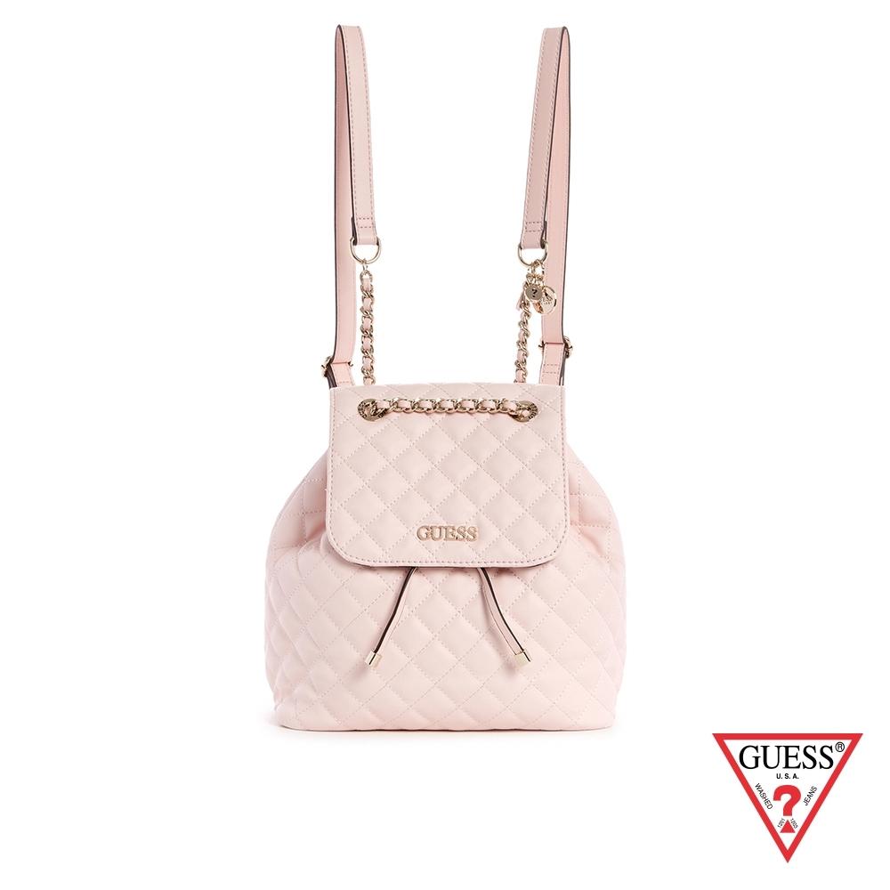 GUESS-女包-時尚菱格紋鍊條背帶後背包-粉 原價3290