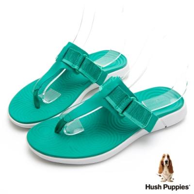 Hush Puppies 人氣輕量魔鬼氈夾腳拖鞋-綠色