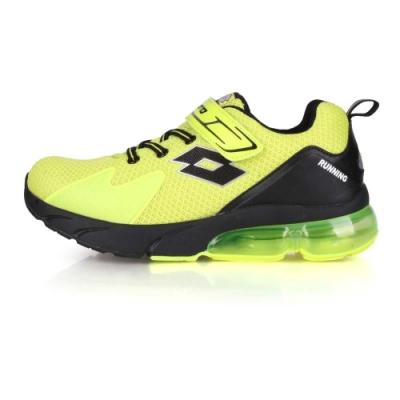 LOTTO 大童氣墊慢跑鞋-寬楦 螢光黃黑