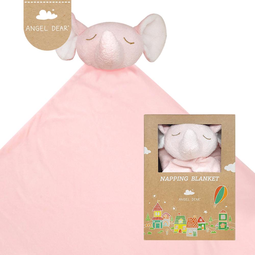 美國 Angel Dear 大頭動物嬰兒毛毯禮盒版 (粉紅小象)