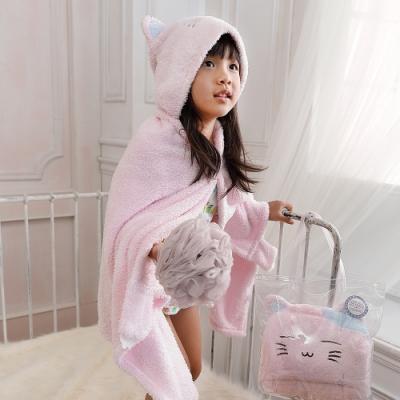 【MORINO摩力諾】動物造型速乾兒童連帽罩袍 披風 抱枕(貓咪) 附提袋