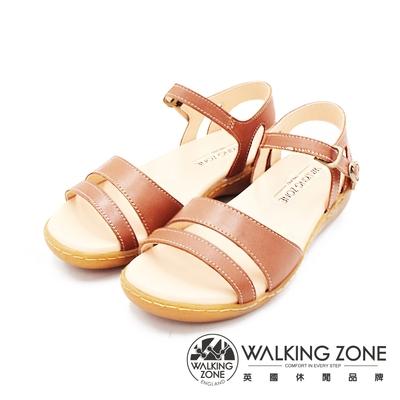 WALKING ZONE(女)MIT真皮手工車縫厚底涼鞋 女鞋-棕(另有黑)
