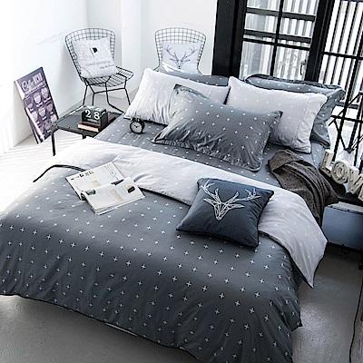 OLIVIA  阿波羅 灰 標準雙人床包冬夏兩用被套四件組 200織精梳純棉
