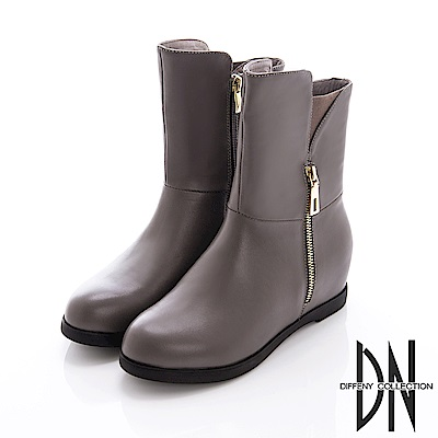DN 魅力真皮 金屬雙拉鍊內增高造型靴-灰
