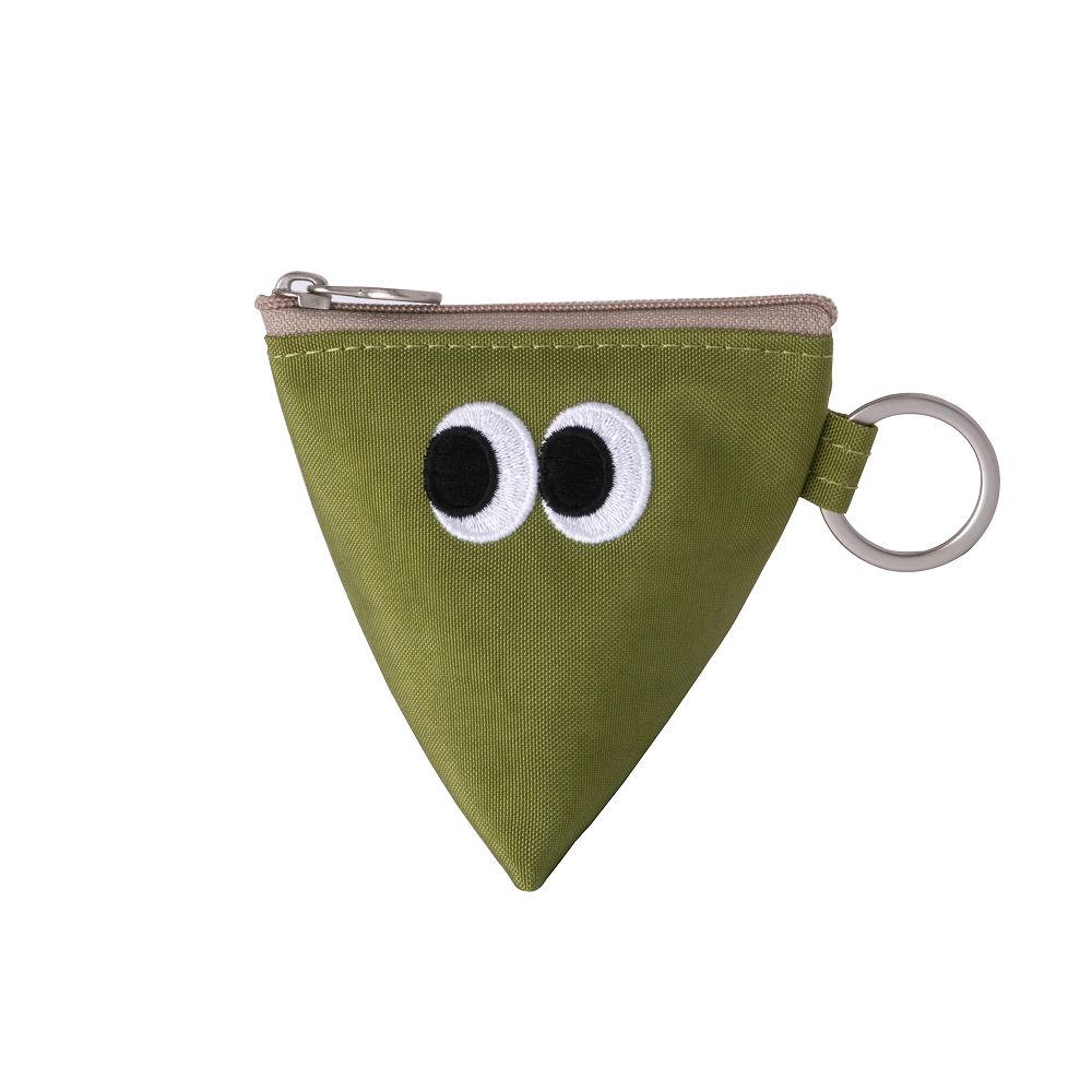 Livework SOMSOM三角耳機收納拉鏈刺繡包-綠