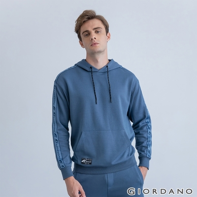 GIORDANO 男裝G-MOTION織帶連帽T恤 - 04 白令海藍