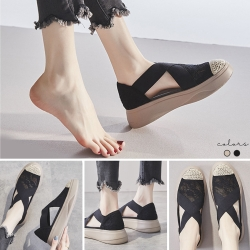 LN 厚底蕾絲交叉透氣休閒鞋-2色