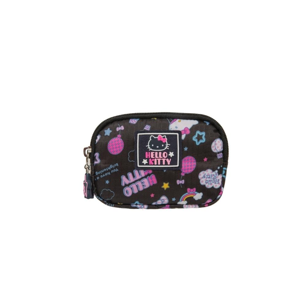 【Hello Kitty】悠遊星空-雙拉鍊零錢包-黑 KT01Q08BK