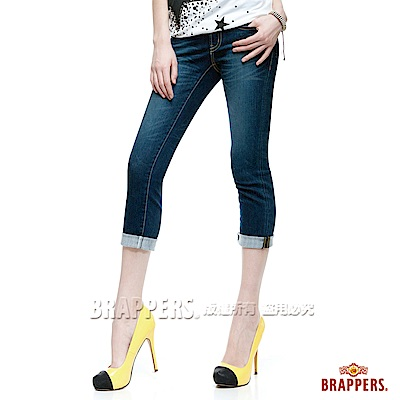 BRAPPERS 女款 新美腳Royal系列—彈性七分反摺褲 -藍