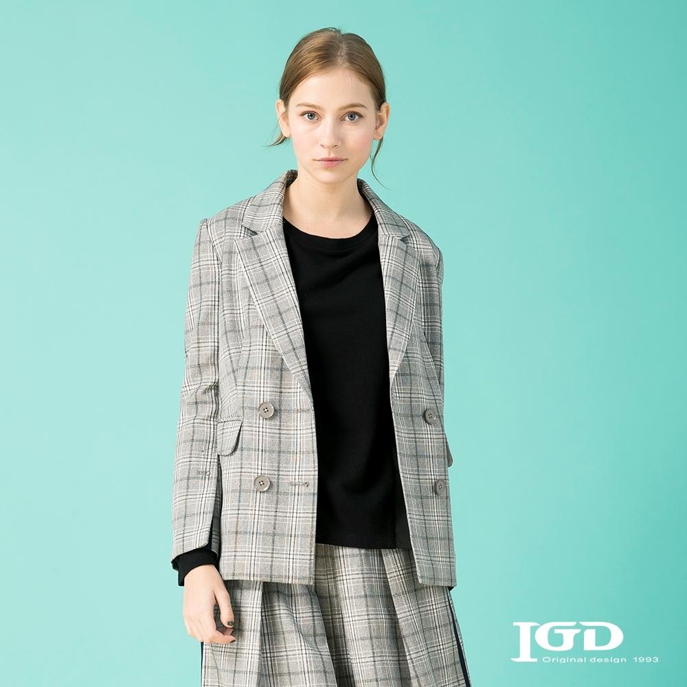 【IGD 英格麗】寬袖衩雙排釦西裝外套-淺灰