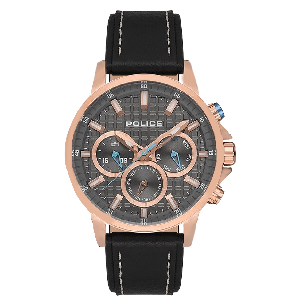 POLICE方格時尚三眼功能皮革腕錶-黑x玫瑰金(15535JSR-13)/45mm