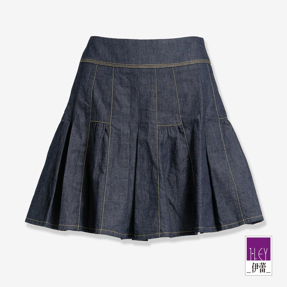 ILEY伊蕾 百搭打摺牛仔褲裙(藍)