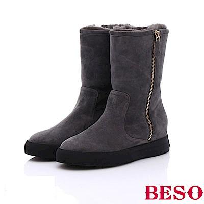 BESO 簡約知性 絨面羊皮拼接拉鍊雪靴~灰