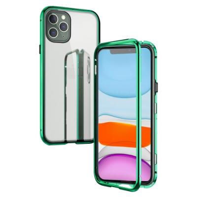 iPhone 11 Pro Max 金屬 磁吸 單面 玻璃殼-i11 Pro Max-綠色*1