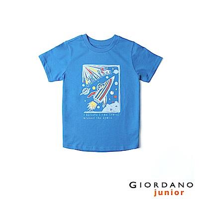 GIORDANO 童裝探索玩樂印花短袖T恤-82 青金石藍