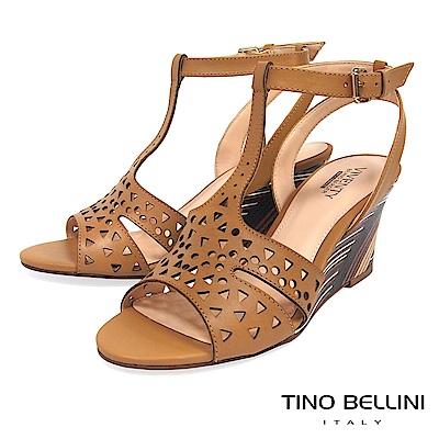 Tino Bellini 巴西進口幾何沖孔木紋工藝楔型涼鞋 _ 棕