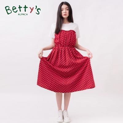 betty's貝蒂思 心型領拼接撞色圓點假兩件洋裝(紅色)