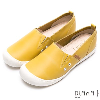 DIANA漫步雲端厚切焦糖美人-極簡美學真皮免綁帶平底休閒鞋-黃