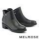 短靴 MELROSE 質感簡約牛皮純色圓釦造型低跟短靴-黑 product thumbnail 1