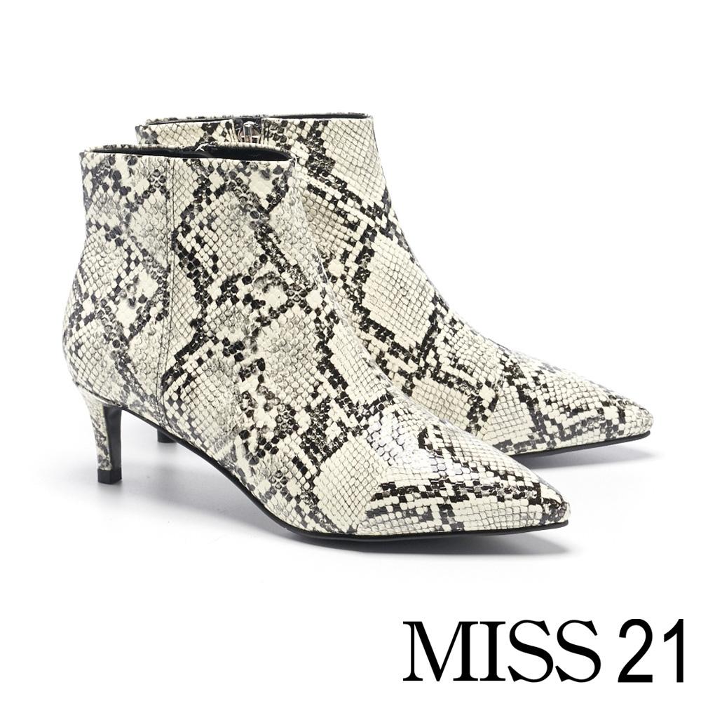 短靴 MISS 21 超前衛印象尖頭側拉鍊設計低跟短靴-蛇紋