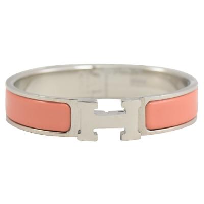 HERMES CLIC H LOGO琺瑯扣式手環(銀/珊瑚橘)