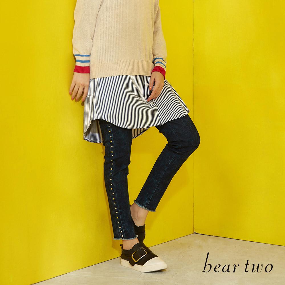 beartwo 暈染側邊鉚釘造型丹寧褲(二色)