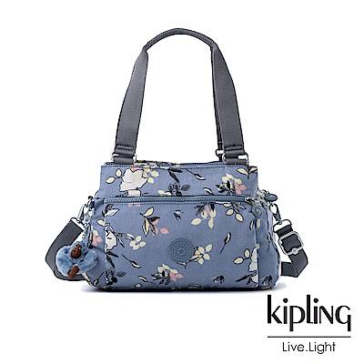 Kipling 粉紫藍柔雅花卉梯形手提側背包-ORELIE
