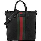 GUCCI烙印LOGO綠紅綠織帶帆布兩用直式托特包(黑)