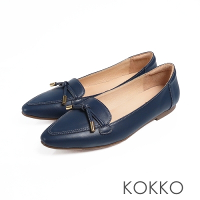 KOKKO流金歲月軟底彎折小方頭平底鞋經典藍