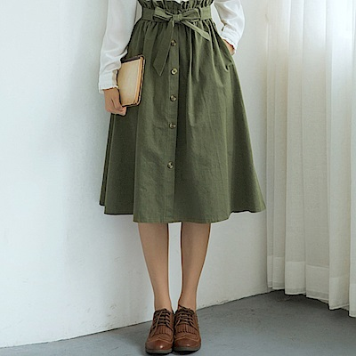 La Belleza花苞荷葉鬆緊腰綁帶琥珀排釦A字裙半身裙