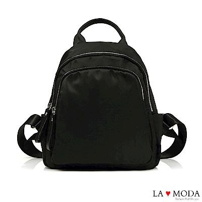 La Moda 輕巧便利背面防盜拉鍊出遊後背包(黑)