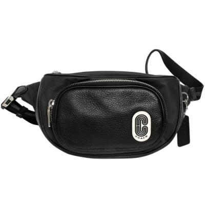 COACH黑色尼龍拼接前真皮拉鍊袋小款腰包