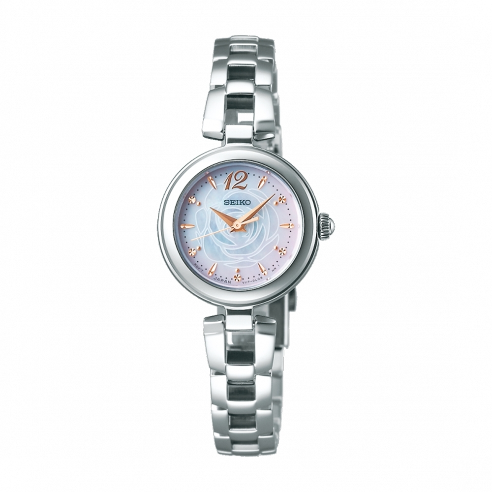 SEIKO精工限量VIVACE 太陽能優雅渲染玫瑰腕錶23mm(SWFA189J/V117-0CT0S)