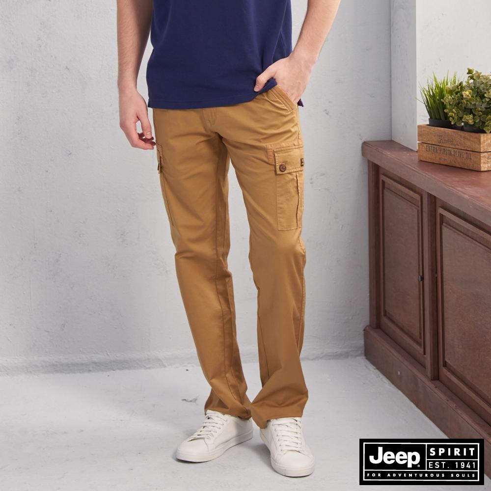 JEEP 鬆緊織帶造型口袋工作褲-深卡其