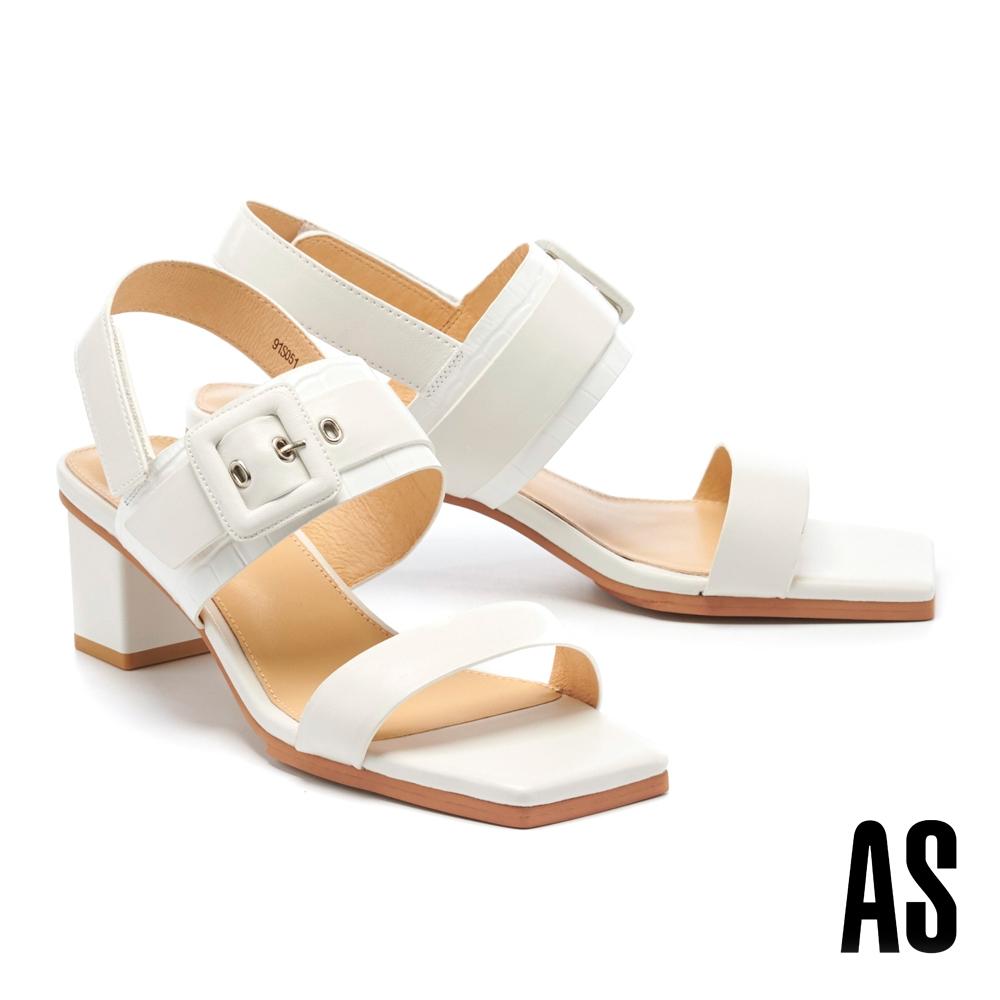 涼鞋 AS 簡約時髦異材質拼接全真皮後繫帶方頭高跟涼鞋-白