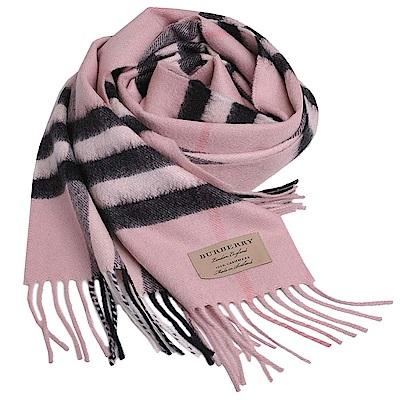 BURBERRY 經典大格紋喀什米爾羊毛圍巾(玫瑰粉格紋/168x30)