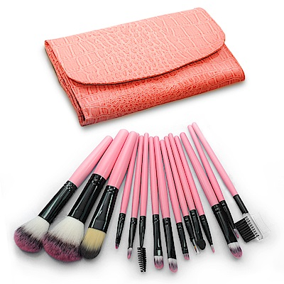 幸福揚邑專業彩妝抗菌刷毛木柄化妝刷具皮革化妝包15件組-粉色