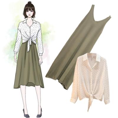 中大尺碼點點雪紡襯衫罩衫V領冰絲針織背心裙XL~4L-Ballet Dolly
