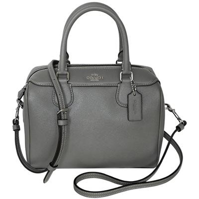 COACH灰色防刮全皮手提/斜背小款波士頓包